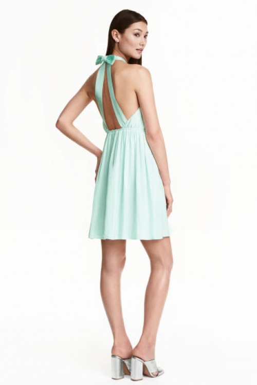 H&M robe menthe noeud dos