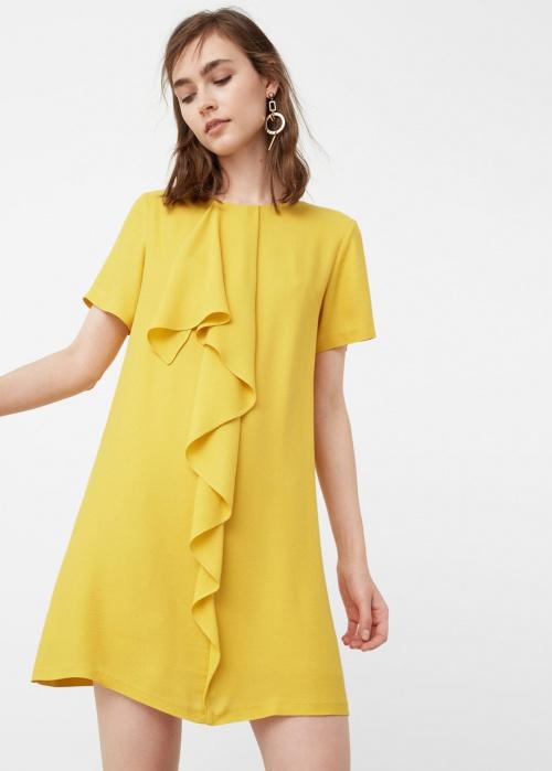 Mango  robe jaune volant