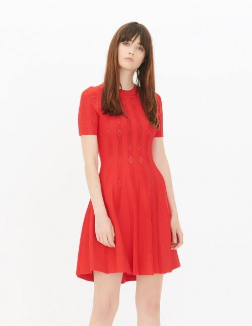 Sandro robe rouge ajourée