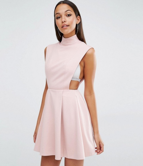 AQ/AQ robe rose pale ajourée cotés