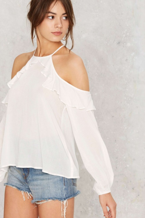 Nasty Gal top blanc volant