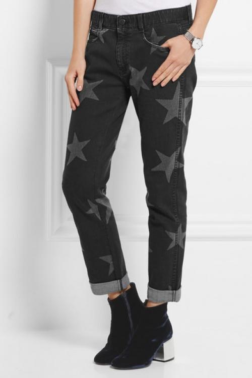 Stella McCartney jean noir étoiles imprimées