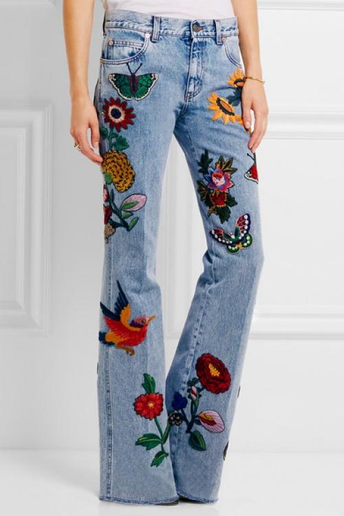 Gucci jean brodé fleurs