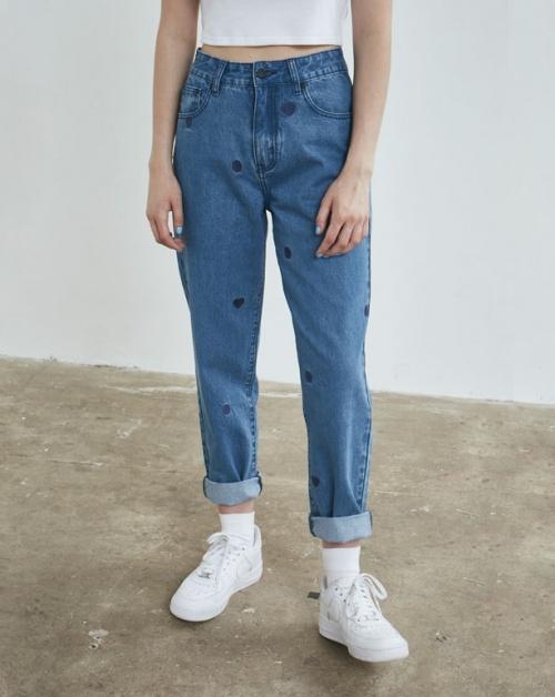 Lazy Oaf jean imprimé coeur bleu marine
