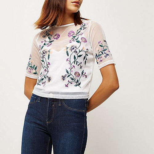 River Island cropped top blanc transparent brodé