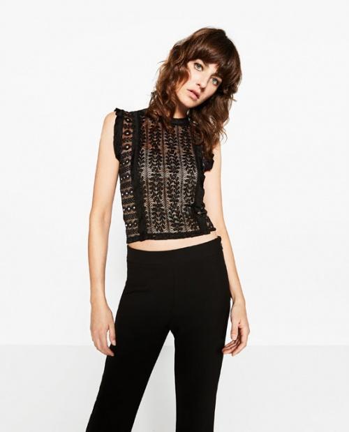 Zara top noir dentelle brodée