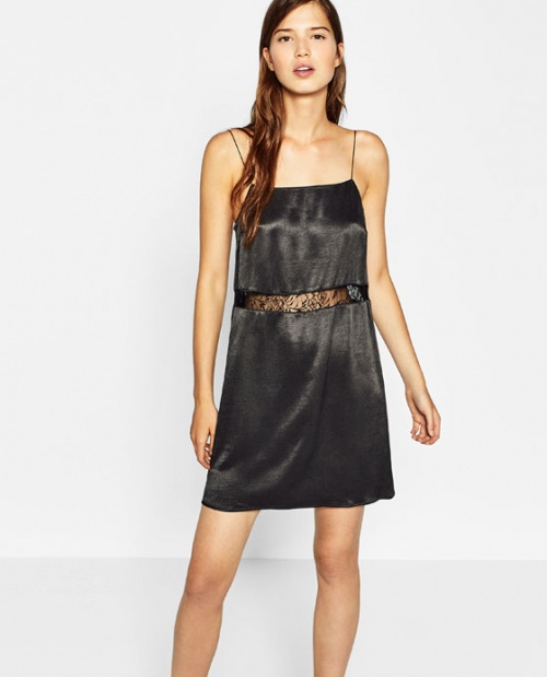 Zara robe nuisette dentelle noire taille
