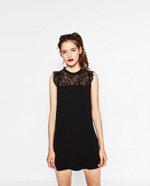 zara robe noire dentelle haut