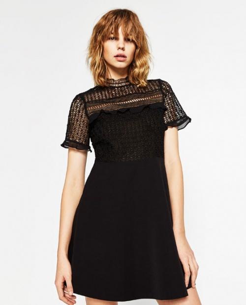 Zara robe noire empiècement dentelle