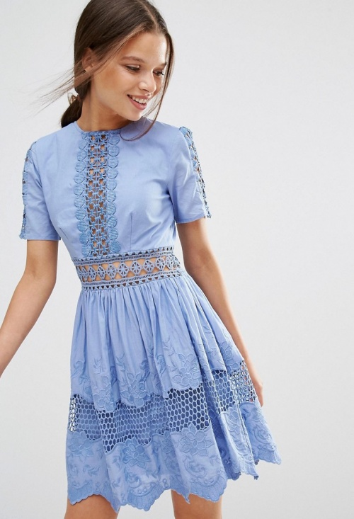 Asos robe bleue dentelle