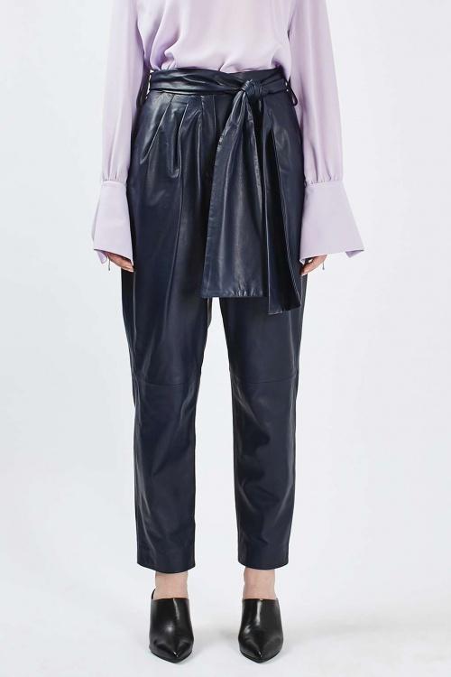 Topshop pantalon cuir bleu marine