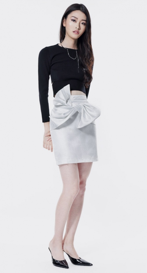 Soeurs - Jupe blanc à noeud