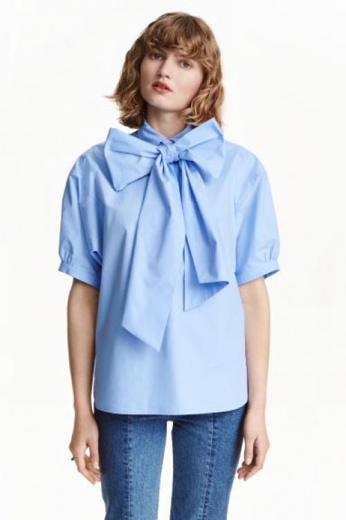 H&M - Blouse bleu à col lavallière