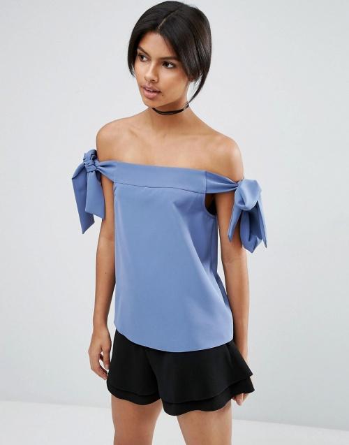 Asos - Top bleu bardot noeud épaules