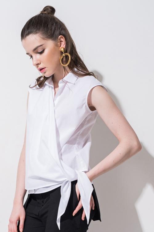 Front Row Shop - Top blanc à noeud
