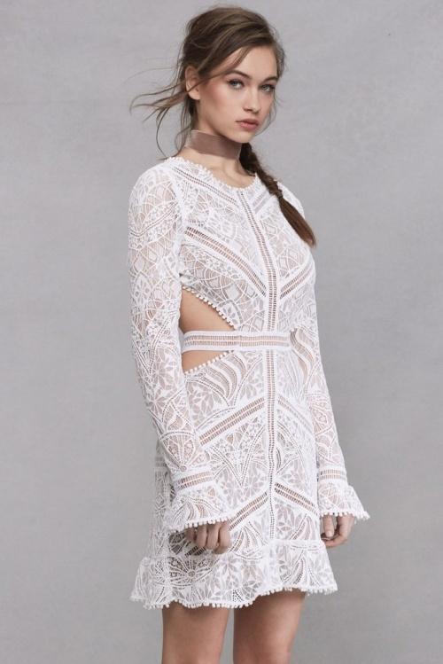 For Loves and Lemons robe blanche dentelle ajourée