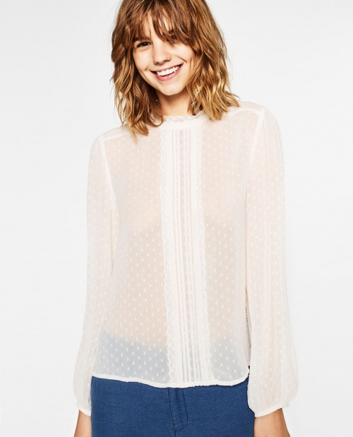 Zara top plumetis blanc