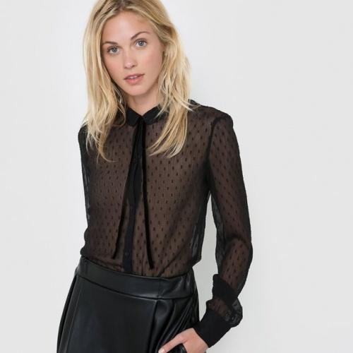 R Édition  blouse noire plumetis