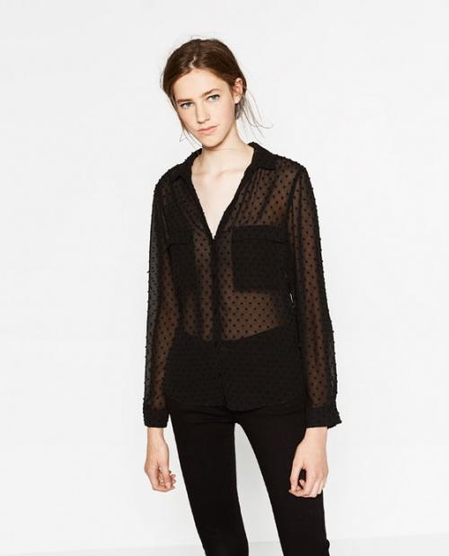 Zara chemise noire plumetis