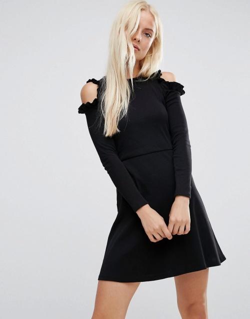 Asos - Robe noire épaule dénudées