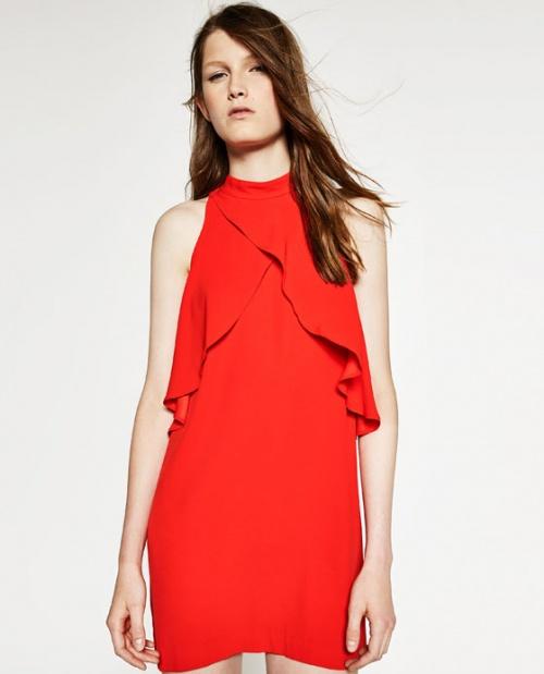 Zara  robe rouge à volants