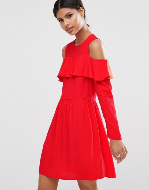 Asos robe rouge cold shoulder