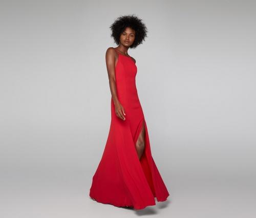 Fame & Partners robe longue rouge fendue