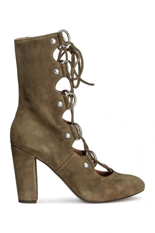H&M boots à talons lacets