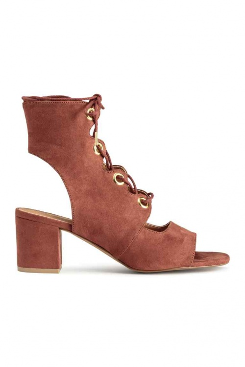 H&M  bottines open tooe cramoisie