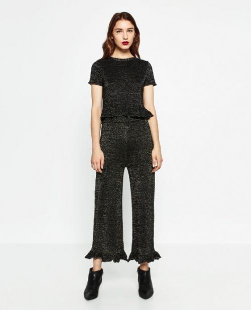 Zara pantalon ourlet volants