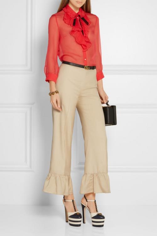 Gucci  pantalon à volants ourlet