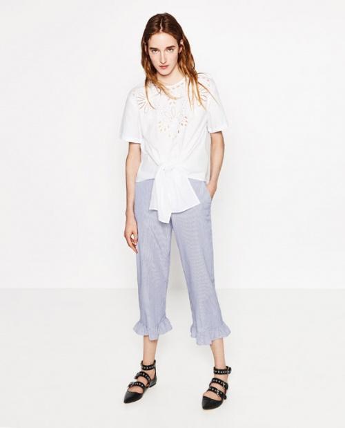 Zara pantalon volant ourlet