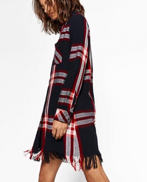 Zara - Robe carreaux et franges