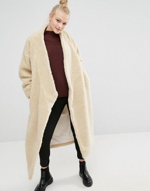 Monki  manteau peau lainée