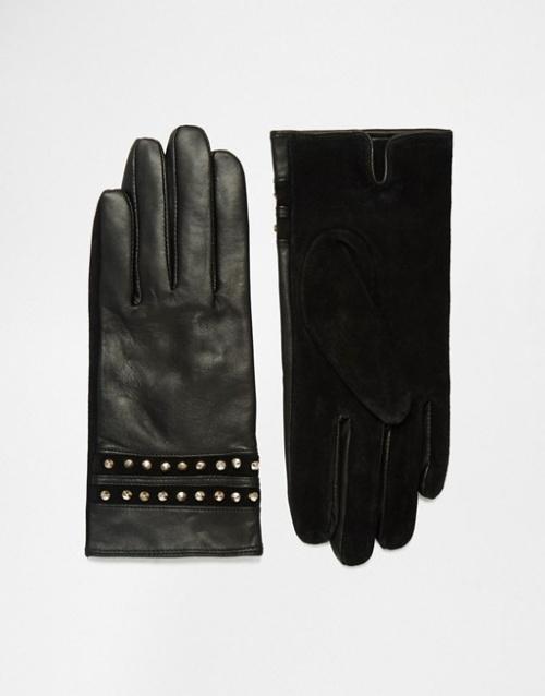 French Connection - gants clouté bi matière