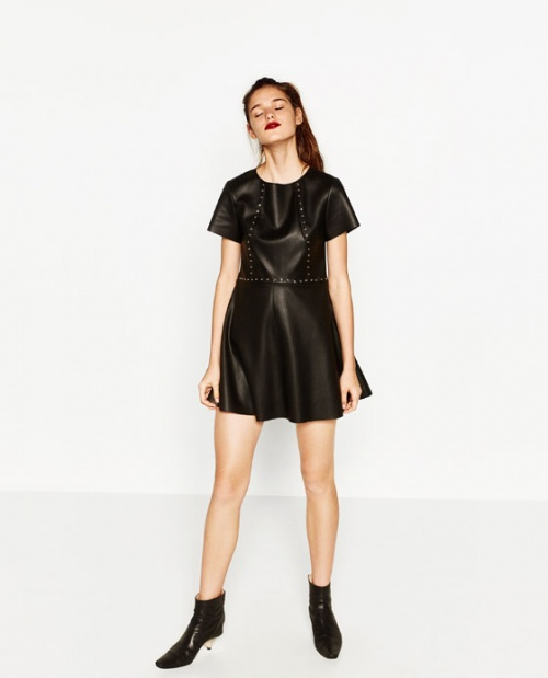 Zara - robe patineuse simili cuir