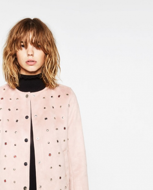 Zara - Veste cloutée rose pale