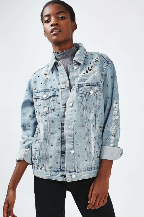Topshop - Veste en jean usée cloutée