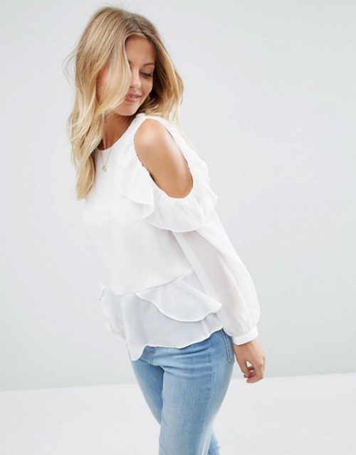 Asos top blanches volants épaules