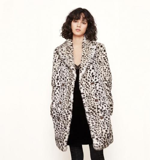 Maje - Manteau motif léopard blanc