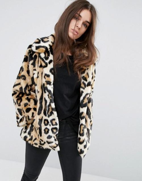 Asos - Manteau court imprimé léopard