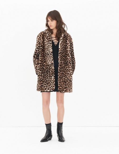 Sandro - Manteau  imprimé léopard