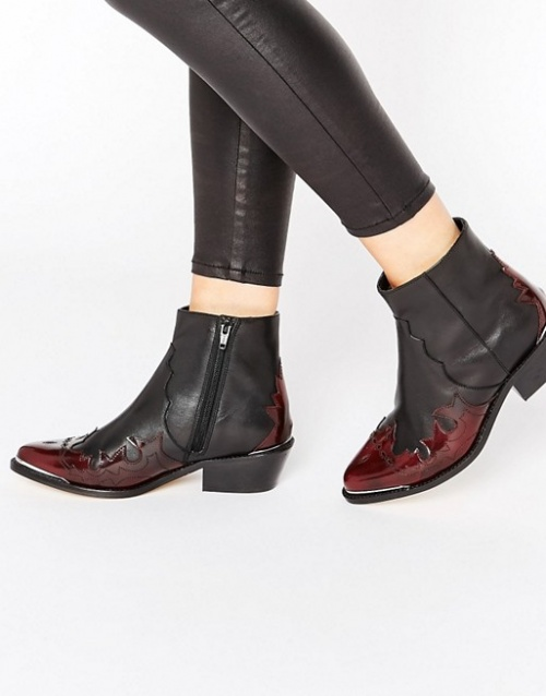 Asos  bottines western rouge