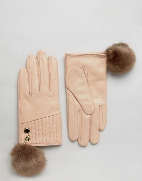 River Island gants beige à pompons