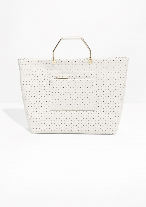 & Other Stories sac blanc micro perforé anse or
