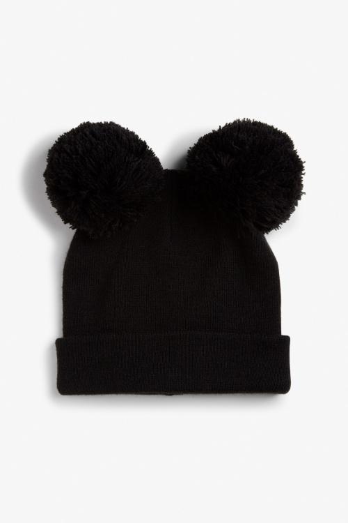 Monki bonnet double pompons noir