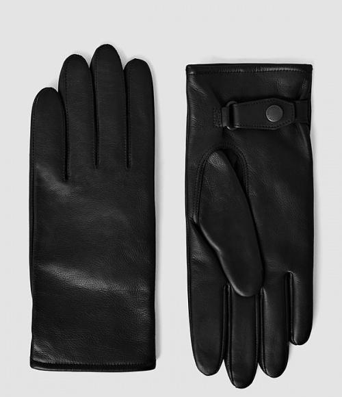 All Saints gants bouton cuir noir