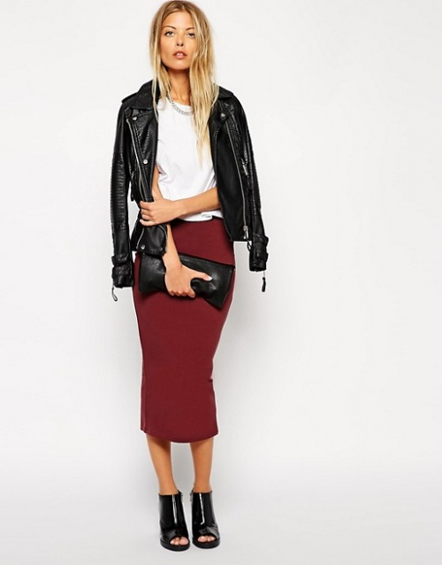 Asos jupe fourreau rouge