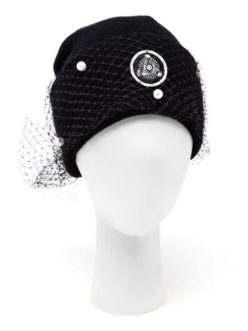 Silver Spoon Attire bonnet noir voilette