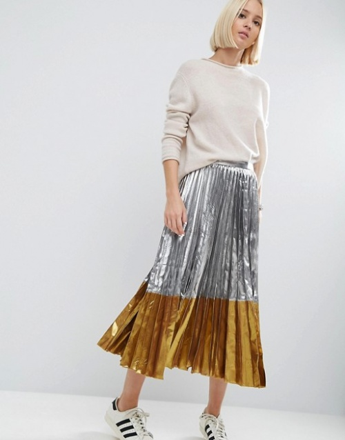 Asos jupe metallisé plissée